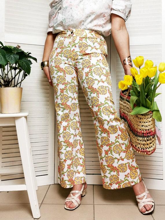 Vintage 70s floral print flare women pants - image 4
