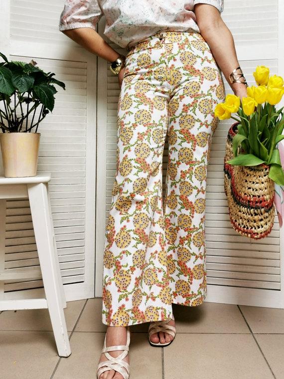 Vintage 70s floral print flare women pants - image 2