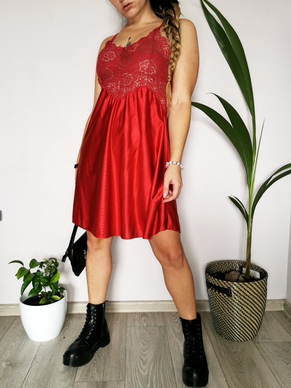 Vintage 90s red underwear lace mini slip dress