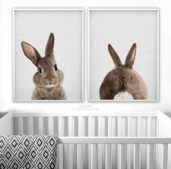 Bunny Print Setwoodlands Nursery Set Of 2rabbit Print Etsy