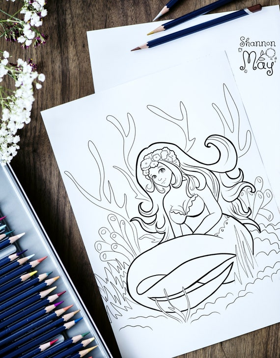 Mermaid Coloring Book Pdf 100 Mermade Ocean Siren Printables Adult Coloring Pages Digital Stamp Adult Coloring Book Gift For Her