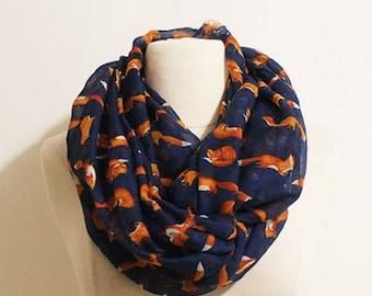 f2eedee25fae2 Navy Orange Fox Infinity Scarf, Foxes, Fox Animal Scarf, Gift For Fox  Lover,Autumn Scarf,Gifts For Her,Women Scarves,Gifts For Mom, Fire Fox