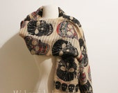 Skull Scarf, Halloween Scarf, Day of the Dead Scarf, Sugar Skull Scarf, Women Fashion Accessories, Holidays Christmas Gift, For Her