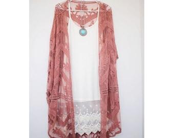 Ombre Pink Lace Kimono