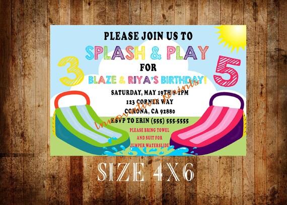 Water Slide Birthday Invitations Summer Bounce