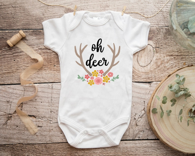 1048a32e6 Oh Deer Onesie Hello Baby Baby Girl Clothes Cute Baby | Etsy