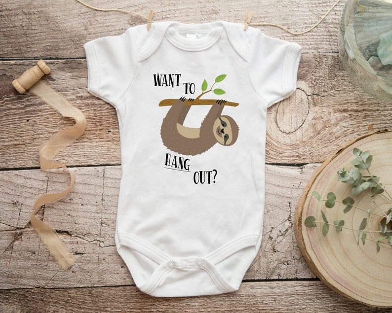 Want To Hang Out Sloth Onesie Little Brother Baby Shower Etsy