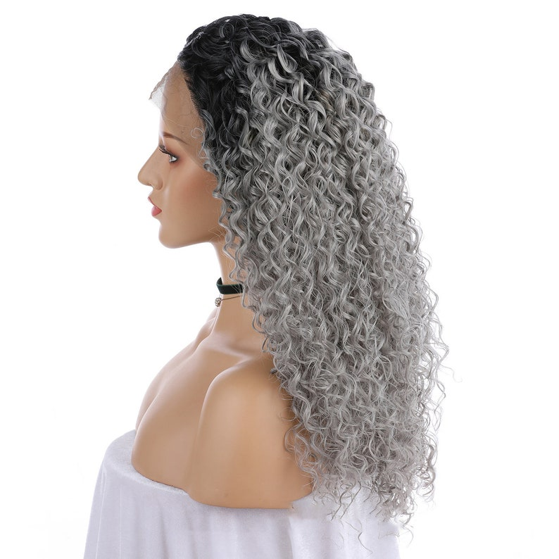 Synthetic lace wig,strawberry blonde,Beauty symbol Double Color Wig Little Curly wig,Woman Long Hair Wavy hair Lace front wig Gray Hair