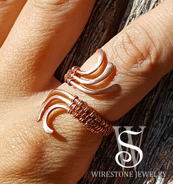 Wire wrapped ring smooth copper wire ring copper ring .Adjustable copper ring Statement Copper ring
