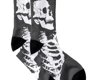 07663414b54 Bones Black Socks Skulls Skeleton Goth Macabre Creepy
