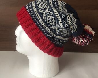 7f8c514efb0 Grey Angora knit hat Scandinavian patterned bobble hat