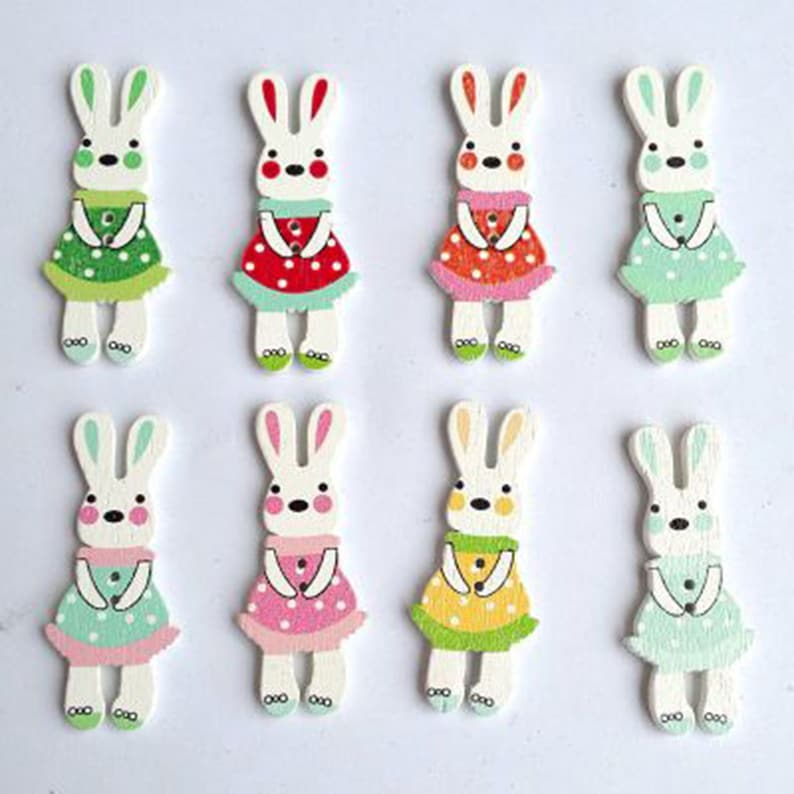 Wholesale Packs Rabbits  Novelty Buttons 18mm