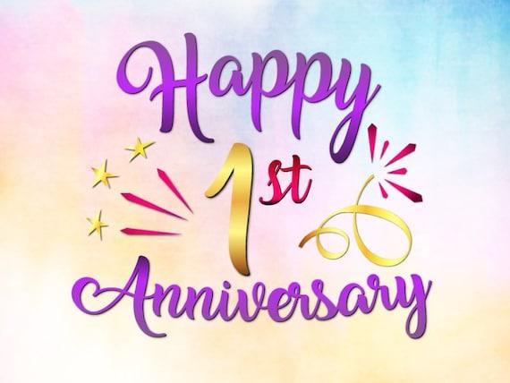 Happy 1st Anniversary SVG File for Cricut Cotton Paper Wedding | Etsy
