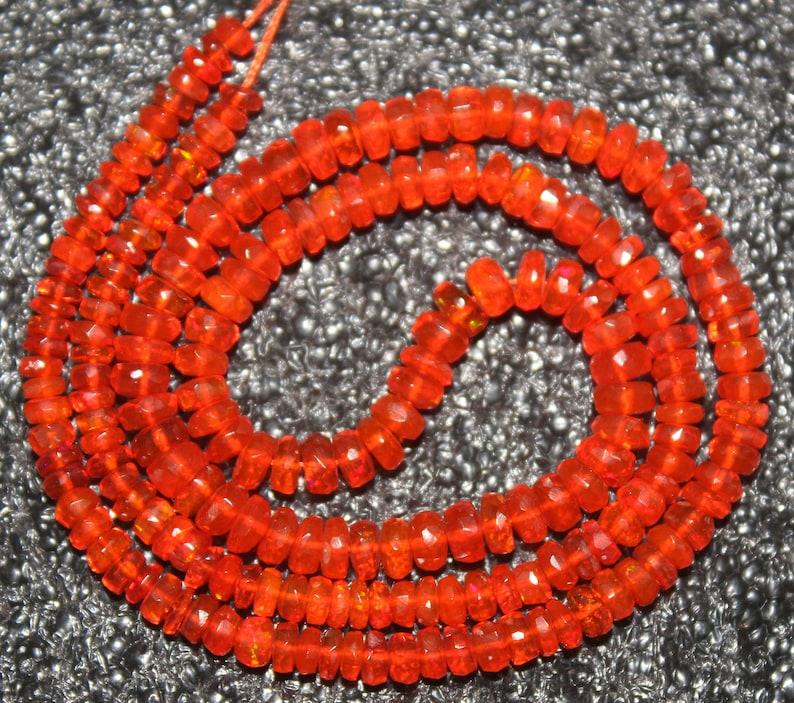 Welo Opal Beads Orange Fire Ethiopian Opal Beads,AAA Genuine Rondelle Faceted Ethiopian Beads Fire Opal  Cts 32.3