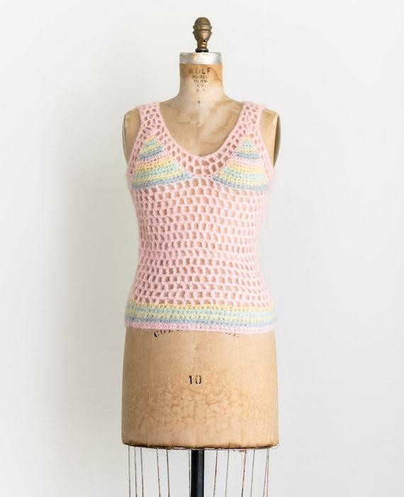 60s Deadstock Crochet Tank / 1960s Pastel Rainbow