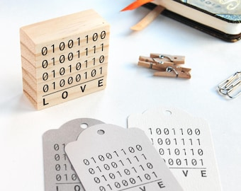 binary code love stamp, computer wedding decor, nerd wedding favors, binary love rubber stamp, binary codes wedding decor, developer couple