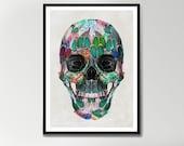 White Wings Skull Print, Geometric Pattern Skull Print, Geometric skull art, skull wall art, sugar skull art