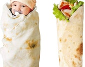 Burrito Swaddle Blanket for Baby | Double Sided 36in 47in 60in 71in and 80in Wrap | Tortilla Blanket Novelty Food Taco Flannel Soft Throw