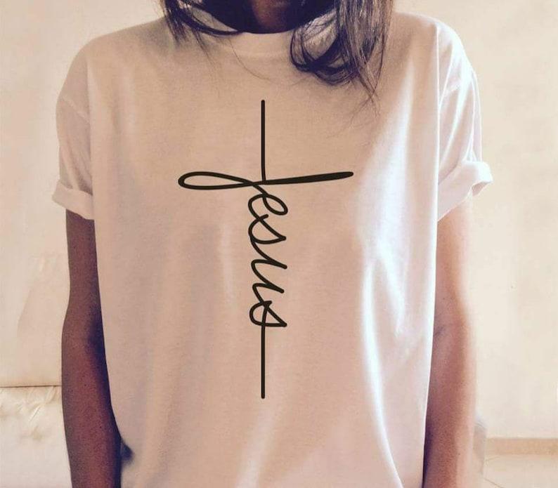 5997df2d Jesus T-shirt Jesus Christian Shirt Jesus Shirt Vertical | Etsy