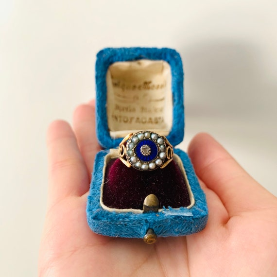 Antique Georgian Blue Enamel Pearl Halo ring | Ant