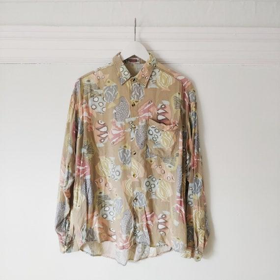 90s Geometric Print Shirt