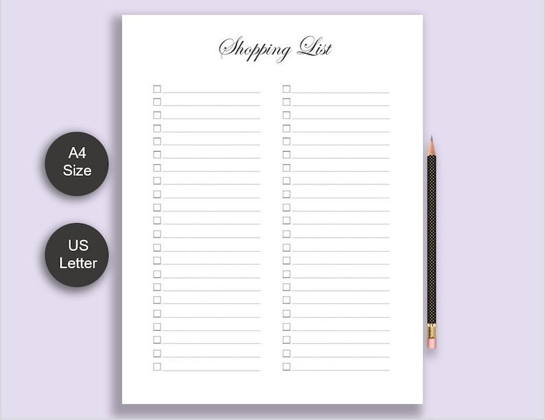 Printable Shopping List Shopping Planner Printable Planner inserts Checklist Pad Shopping Tracker Shopping Plan Shopping Checklist
