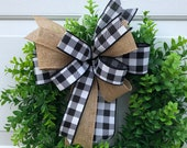 Farmhouse Buffalo Plaid Bow for Lantern, Christmas Bow, Wreath Bow, Black White Buffalo Plaid Bow, Farmhouse Wedding Bow, Buffalo Check Bow