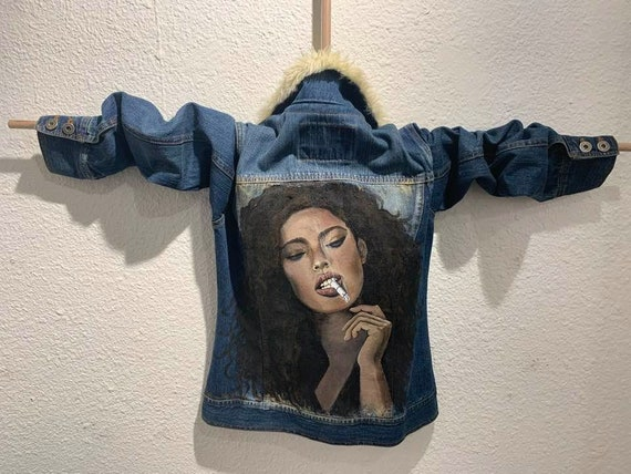"Unique Hollister Denim Jacket Hand Painted by Artist ""Smoking Hot Girl"" Sz S"