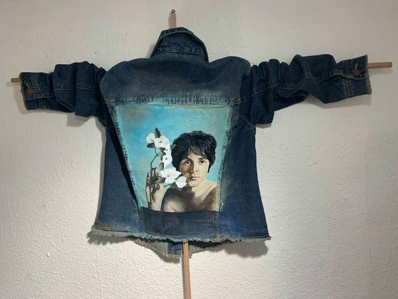 "Alexander Jordan Jeans Jacket ""Paul McCartney flowers"" Hand Painted by Artist"