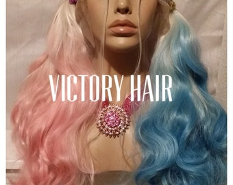 5129b5871ea Ready to ship  harley quinn platinum blonde pink blue lace front wig. Human  hair blend