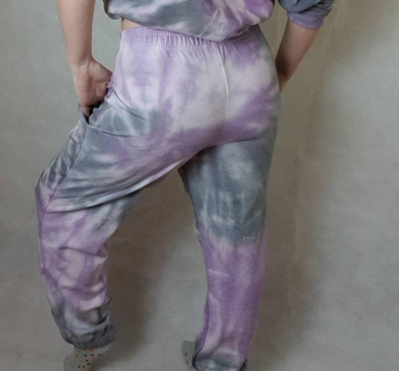 purple and grey small medium large uk festival Tie-dye Sweats Tracksuit trousers tiedye joggers Sweatsuit bottoms Tiedye Jogger bottoms