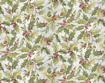 Winter Garden Snow On The Red Berry Cotton Fabric