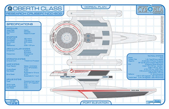 oberth class research cruiser blueprints and deck plans 11 etsy