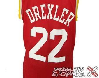 69018af347c CLYDE DREXLER, Houston Rockets NBA, Vintage, Champion, Red Jersey, Size: 44