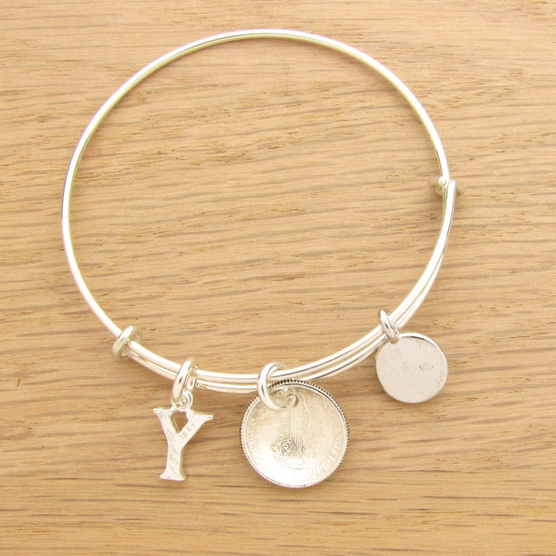 1934 US Dime Coin Bangle Wire Bracelet with optional letter charm