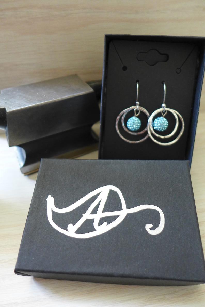 Sterling Silver Ring Earrings blue sparkle ball