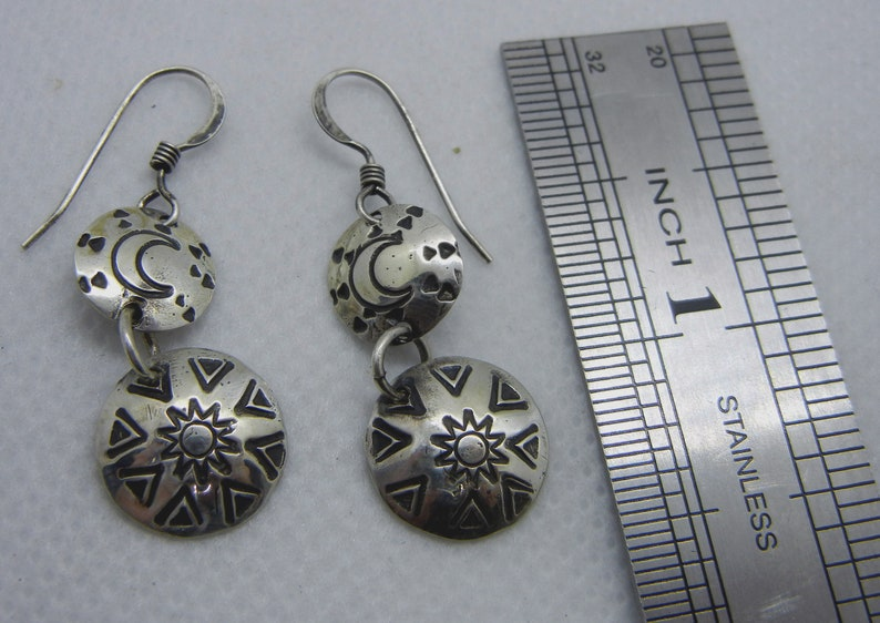 Moon and Sun Sterling Silver Round Dangle Long Earrings Handmade Stamped Earrings