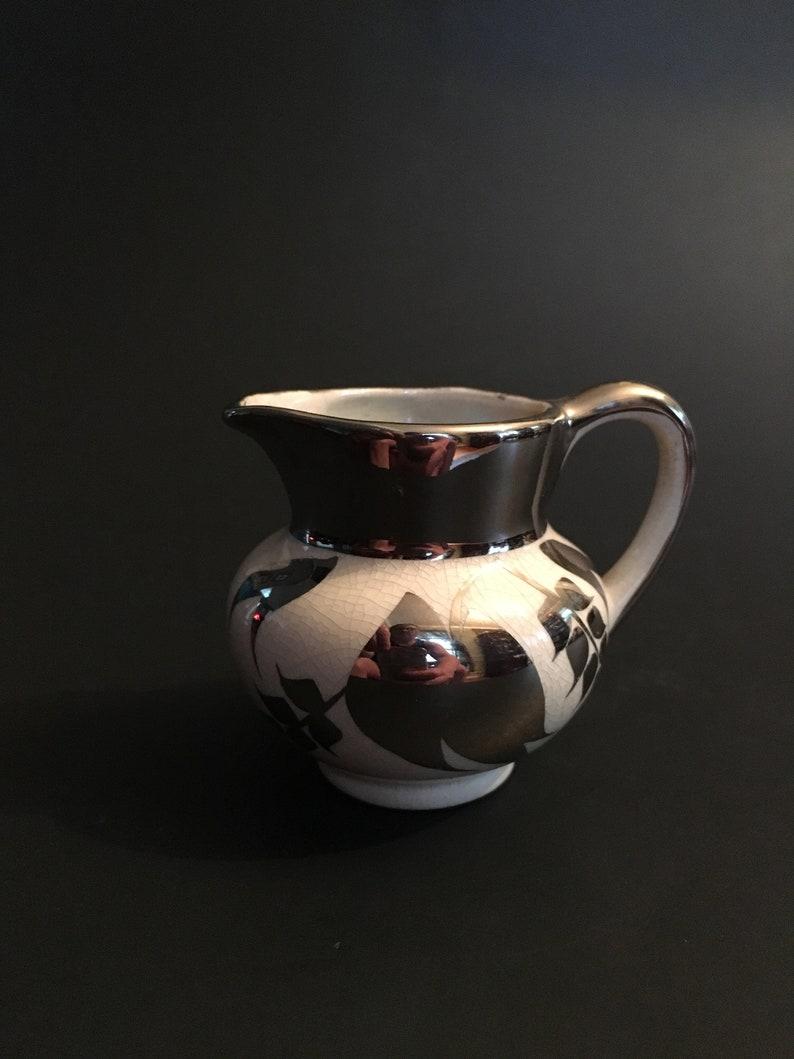 d43de13d03f9 Sandland Ware Creamer Porcelain Silver Accents Staffordshire
