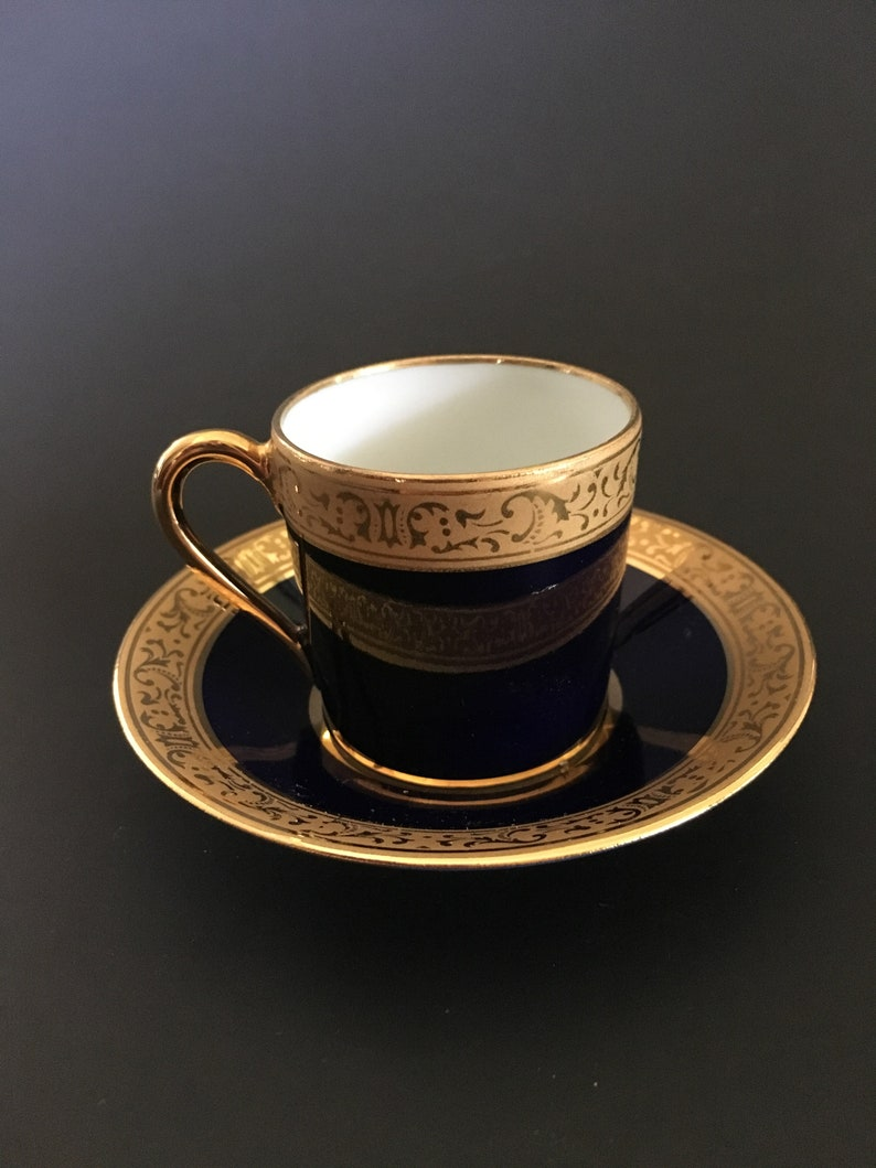Limoges France Legle Porcelaine d'Art Demitasse Cobalt blue Gilt Accents  Cup and Saucer
