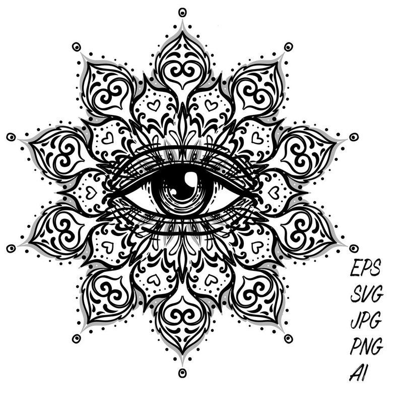 Tattoo Designs Of Zips: Geometric Tattoo Design Eye Indian Mandala