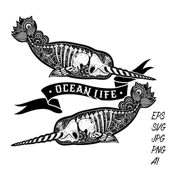 Gothic Tattoo Design Narwhal Whale Skull Skeleton Ocean