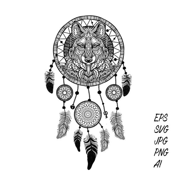 d7318a2706dfb Boho native tattoo design 'wild wolf dream catcher   Etsy