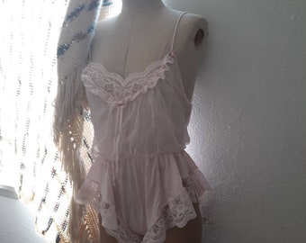 f2a5e774e9c50 Vintage 80's Tosca of California teddy, sheer light pink lingerie, retro  high cut leg romper, snap crotch bodysuit, frilly lace onepiece.