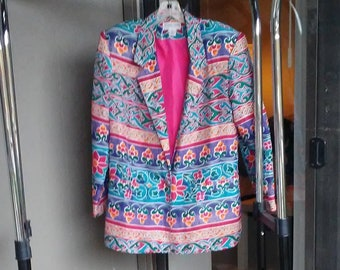 ef5ae9cda0 Funky fresh Vintage 90s SILK BLAZER abstract rainbow print flashy LONGLINE  silk single breasted Jacket   oversized slouchy boxy fit S M