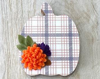 Fall Plaid Standing Floral Pumpkin // Fall Home Decor // Fall Shelf Sitter // Fall Pumpkin Tiered Tray