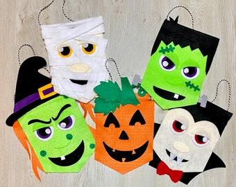 Halloween Character Banner Craft Kits // Halloween Craft Kit // Witch // Frankenstein // Mummy // Jack O' Lantern // Vampire