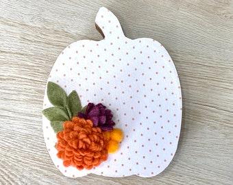 Fall Polka Dot Standing Floral Pumpkin // Fall Home Decor // Pumpkin Shelf Sitter // Pumpkin Fall Tiered Tray Decor