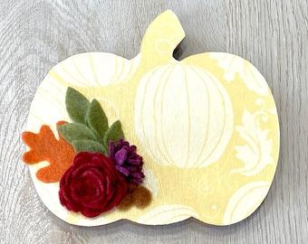 Yellow Standing Floral Pumpkin // Fall Home Decor // Fall Shelf Sitter // Fall Pumpkin Tiered Tray Accent