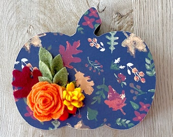 Blue Fall Standing Floral Pumpkin // Fall Home Decor // Fall Shelf Sitter // Fall Pumpkin Tiered Tray Accent