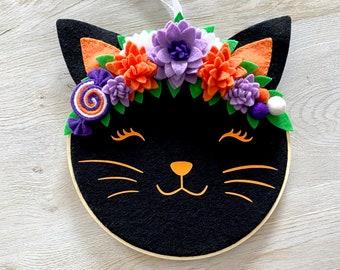 Black Cat Halloween Embroidery Hoop // Halloween Tiered Tray // Trick Or Treat // Cute Halloween Decor // Halloween Door Hanger